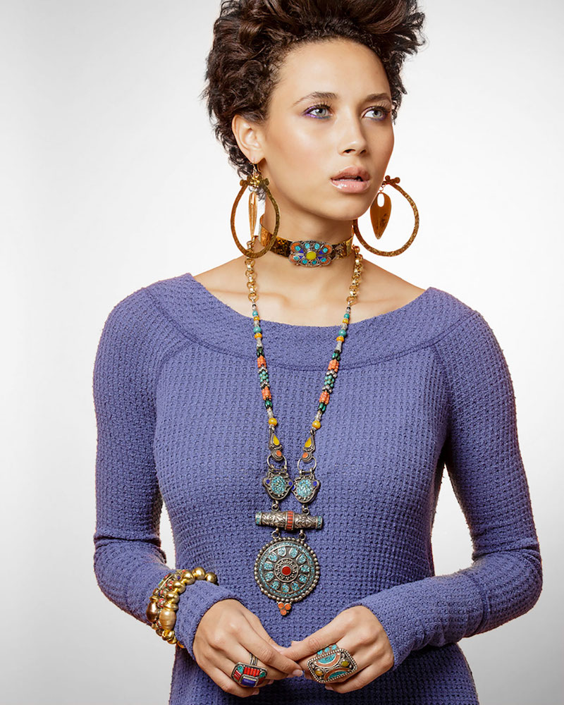 Devon Leigh Antiqued Turquoise, Coral & Lapis Pendant Necklace