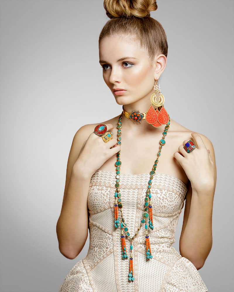 Devon Leigh Coral & Turquoise Tassel Necklace