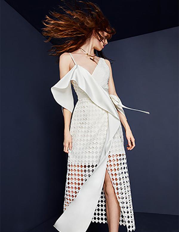 Diane von Furstenberg Asymmetrical Lace Wrap Dress