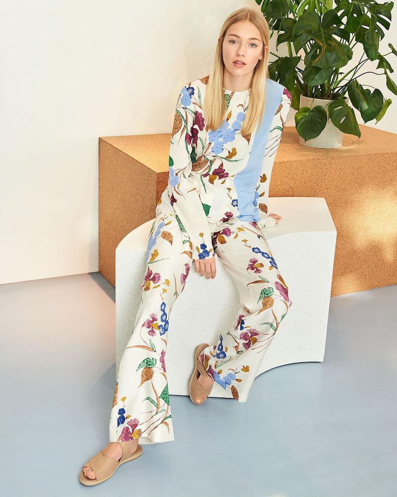 Diane von Furstenberg Long Sleeve Side Slit Blouse