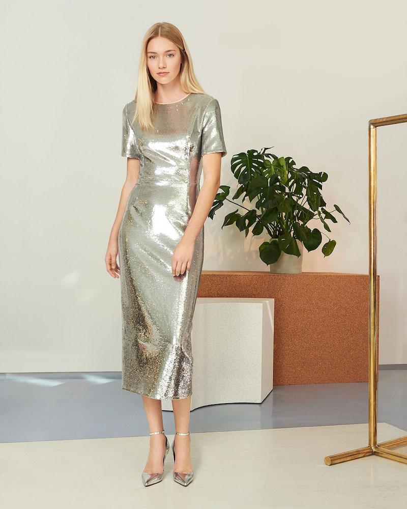 Diane von Furstenberg Short Sleeve Tailored Sequin Dress