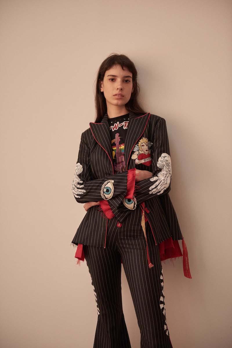 Dilara Findikoglu Embellished Pinstripe Suit Jacket