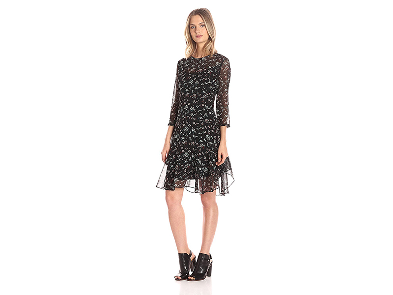 Donna Morgan 3/4-Sleeve A-Line Dress with Ditsy Floral