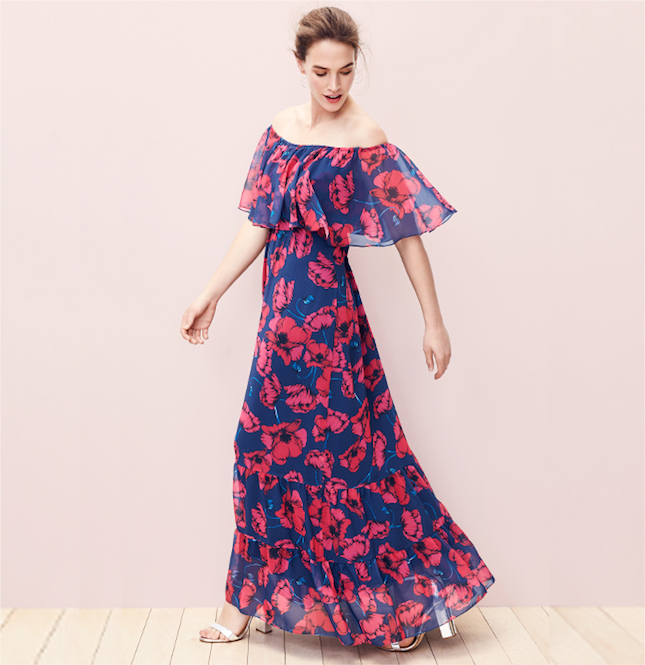 Donna Morgan Off Shoulder Floral Chiffon Maxi