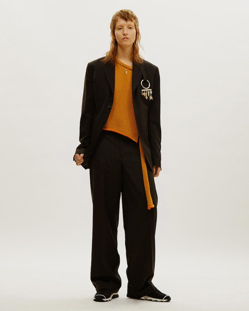 Eckhaus Latta Service Two-Tone Wrap Knit Top