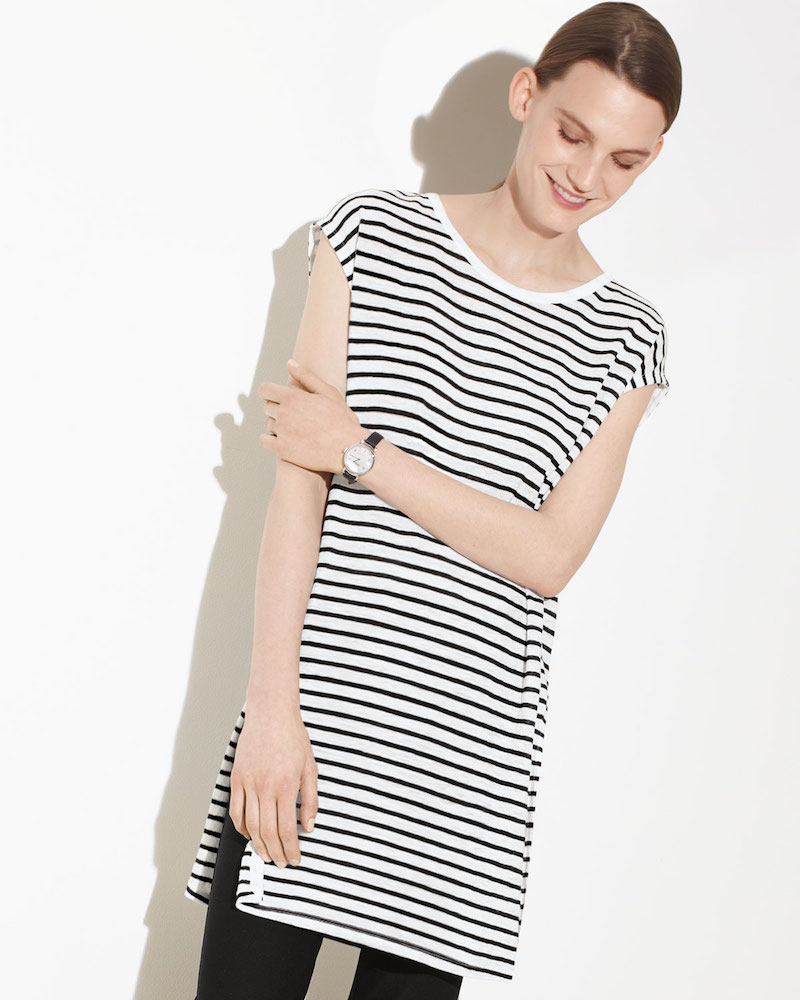 Eileen Fisher Seaside Striped Organic Linen Tunic