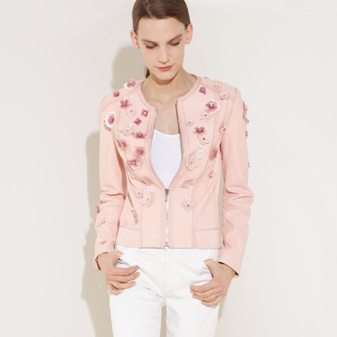 Elie Tahari Glenna Leather Moto Jacket with Floral Appliqué