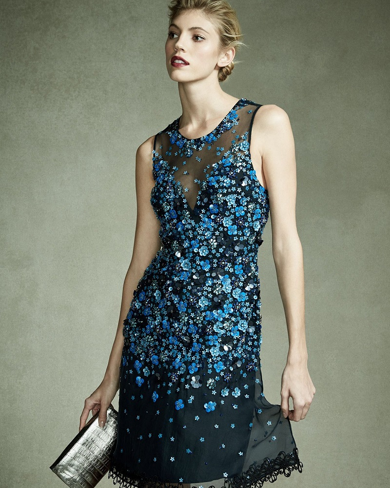 Elie Tahari Justina Sleeveless Sequined Mesh Tail Dress