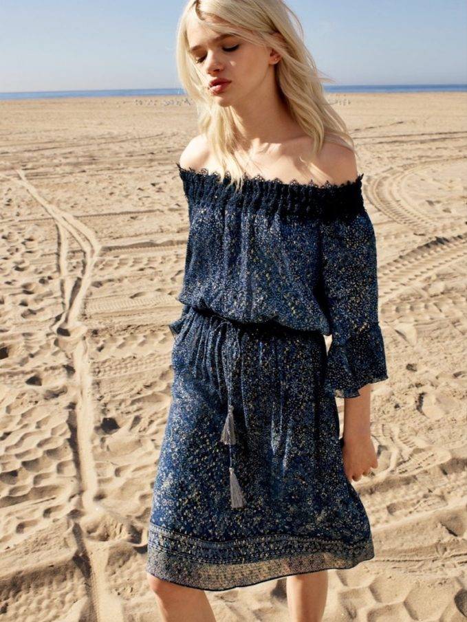 Elie Tahari Off-The-Shoulder Lurex Dress with Bell Sleeves