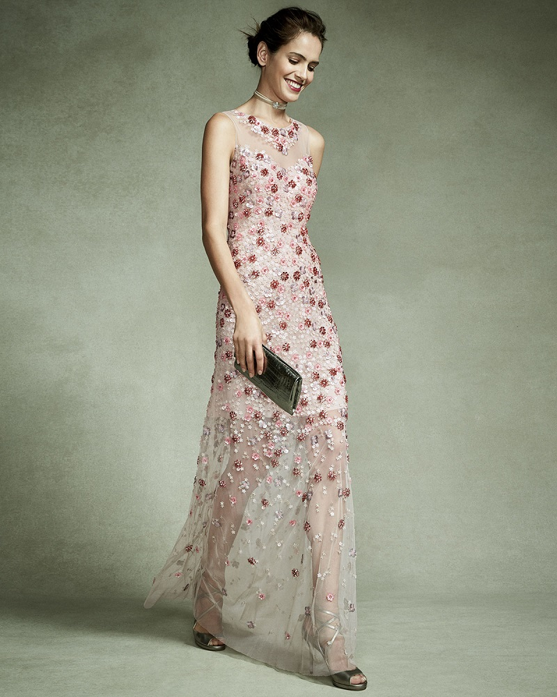 Elie Tahari Sleeveless Embellished Floral Georgette Column Gown