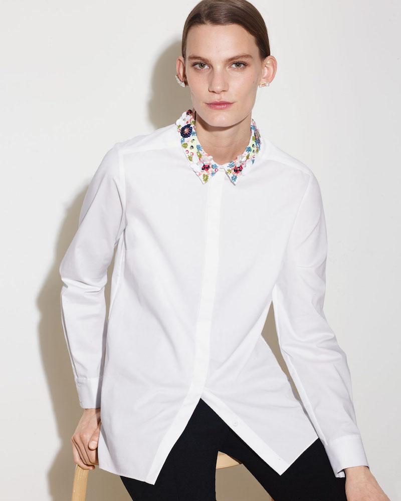 Elie Tahari Teanna Floral-Trim Button-Front Blouse