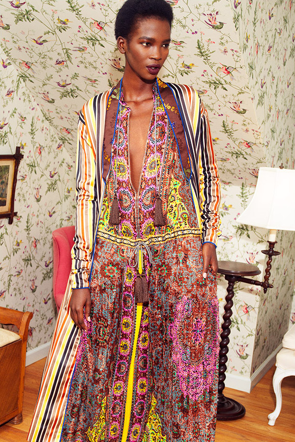 Etro Silk Tassel Tie Maxi Dress