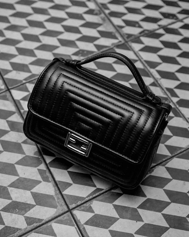 Fendi Micro Double Baguette Leather Bag