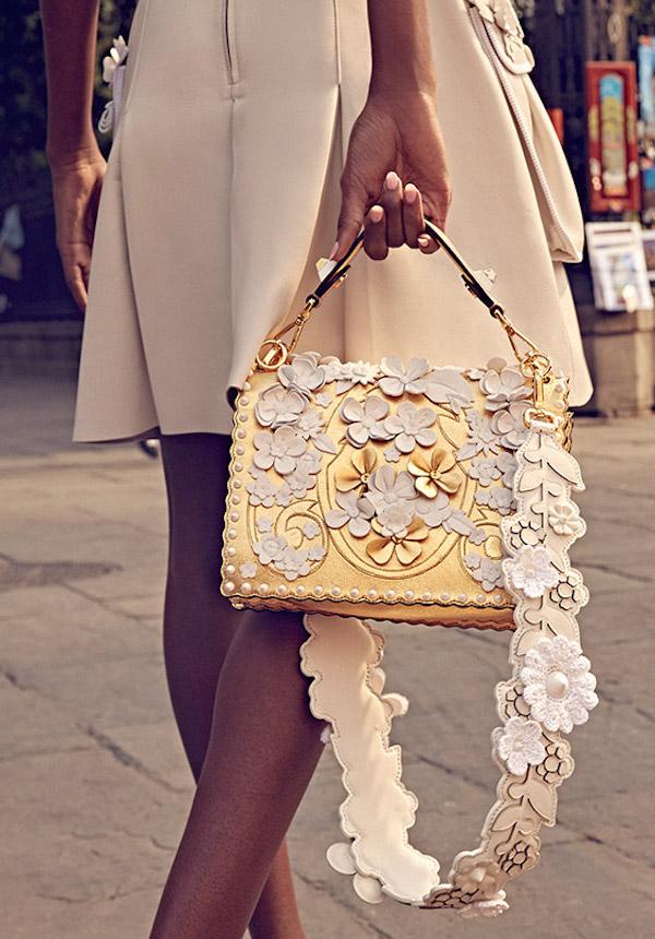 Fendi Strap You Mink Fur & Embroidered Leather Shoulder Strap