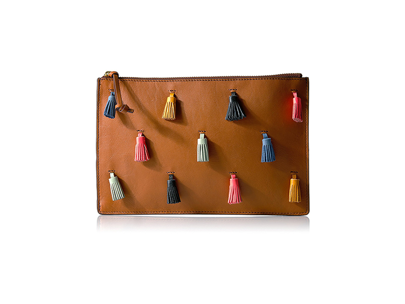 Fossil Rfid Large Pouch-Brown with Multi