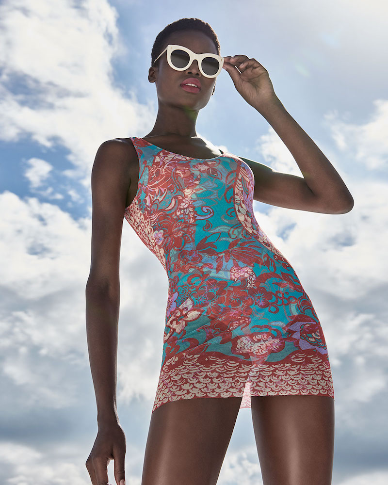 Fuzzi Floral Paisley One-Piece Swimdress with Tulle Overlay