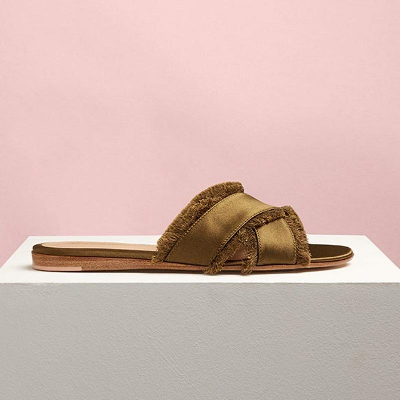 Gianvito Rossi Barth fringed satin sandals