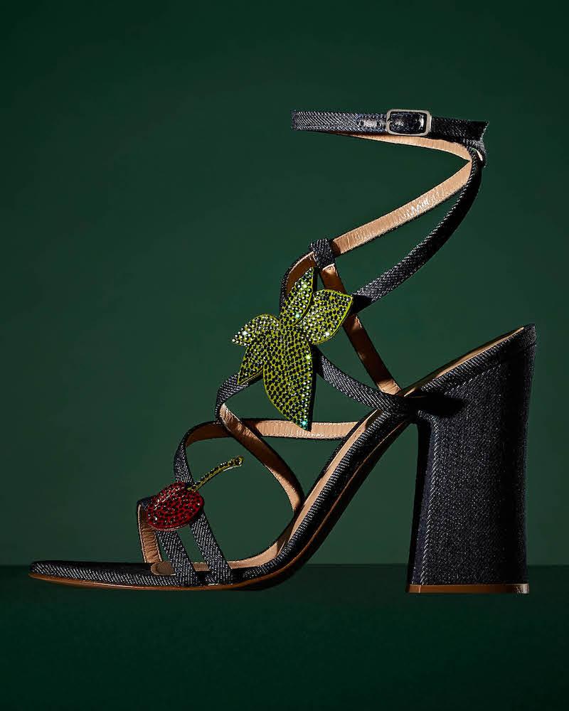 Gianvito Rossi Crystal-Embellished Denim Sandals