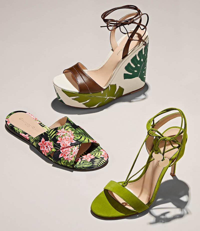 Gianvito Rossi Grenada Leather & Canvas Wedge Sandals