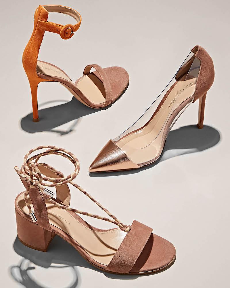 Gianvito Rossi Portofino Colorblocked Suede Ankle-Strap Sandals