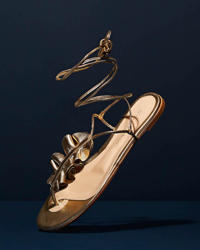 Gianvito Rossi Ruffled Leather Thong Sandals