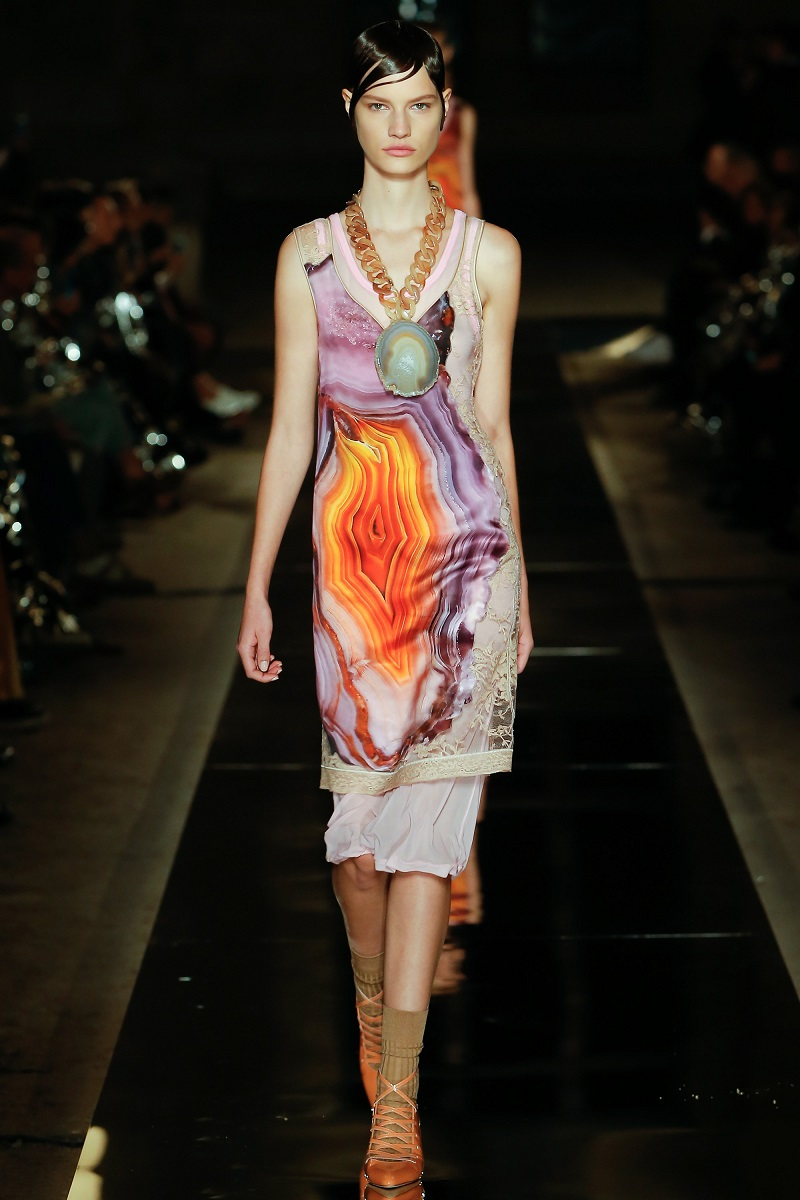 Givenchy Agate-Print Sleeveless Lace-Back Dress