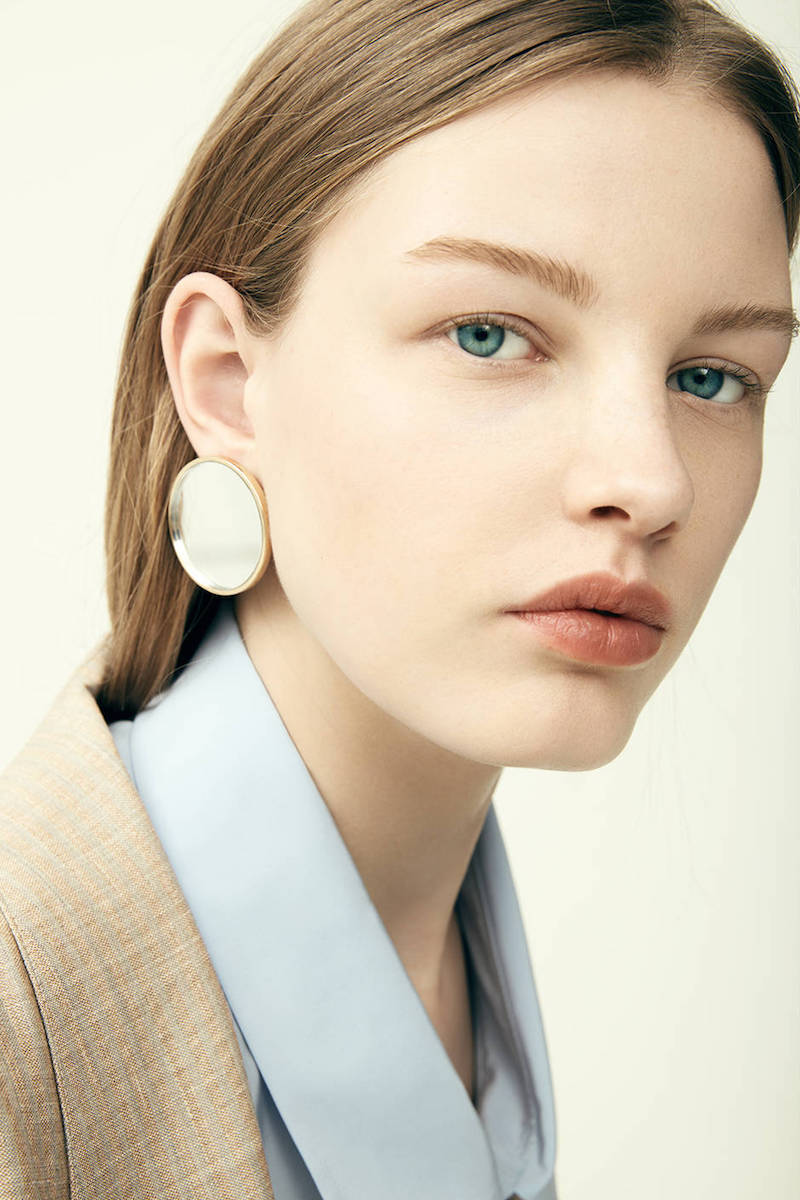 Givenchy Geometric Round Mirrored Earrings