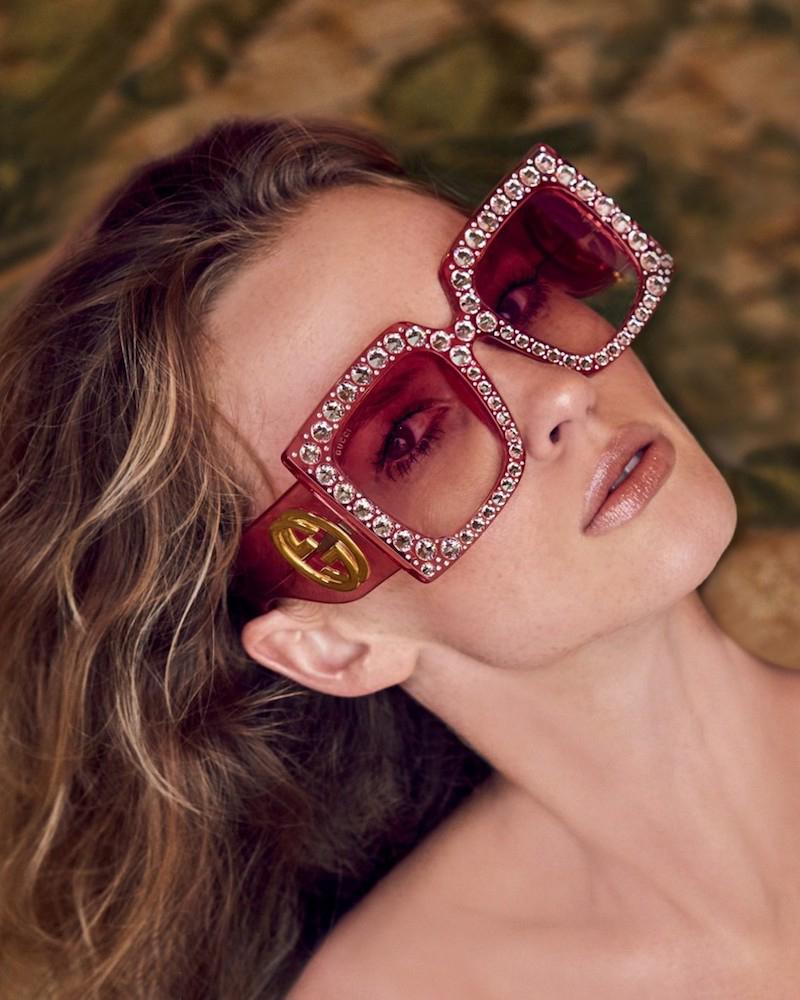 Gucci 57MM Crystal-Trim Oversized Square Sunglasses