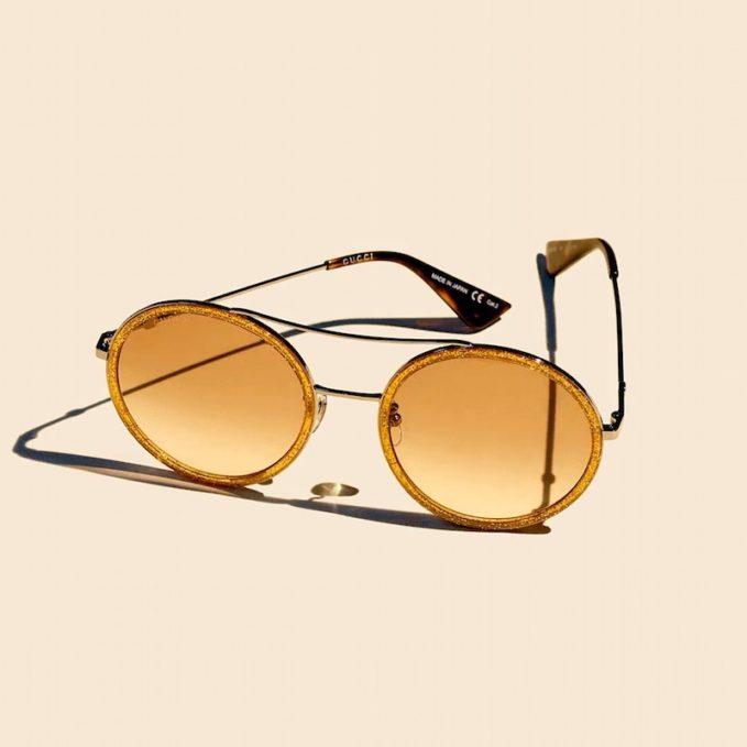 Gucci Amber Glitter Framed Round Sunglasses