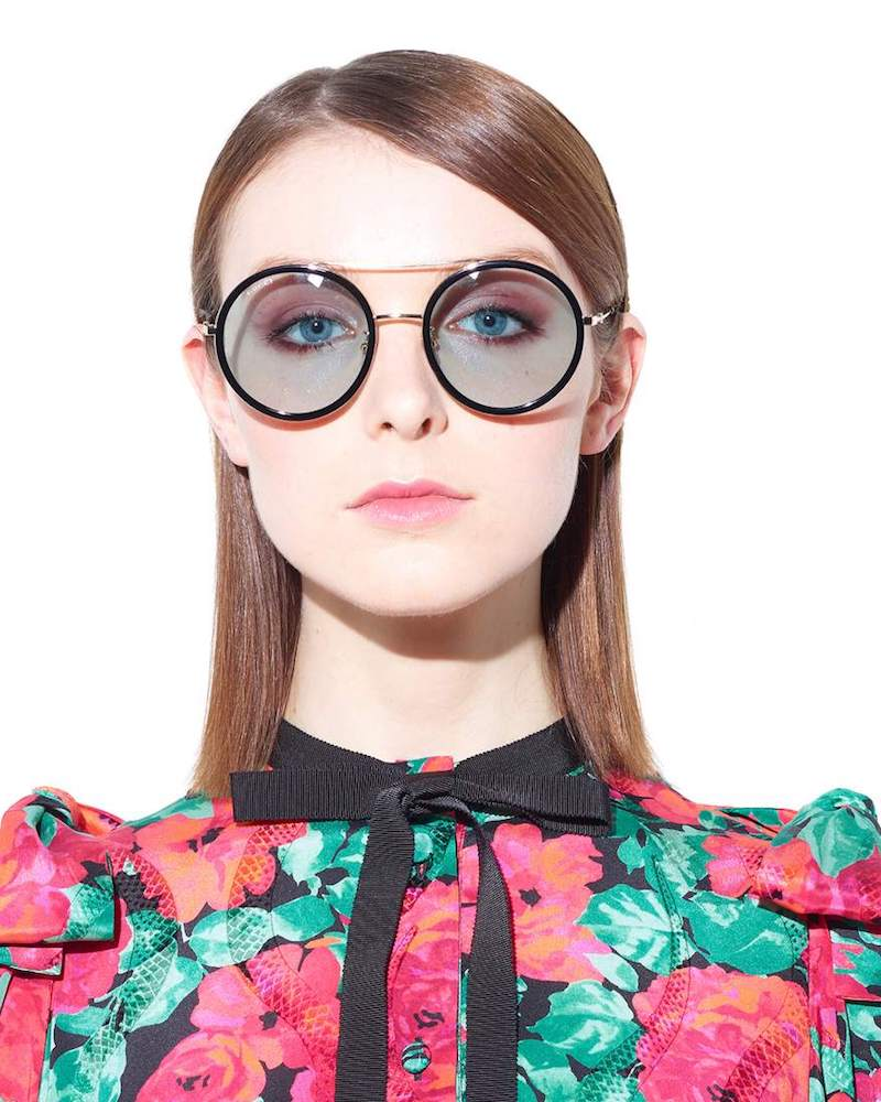 Gucci Black Framed Round Sunglasses