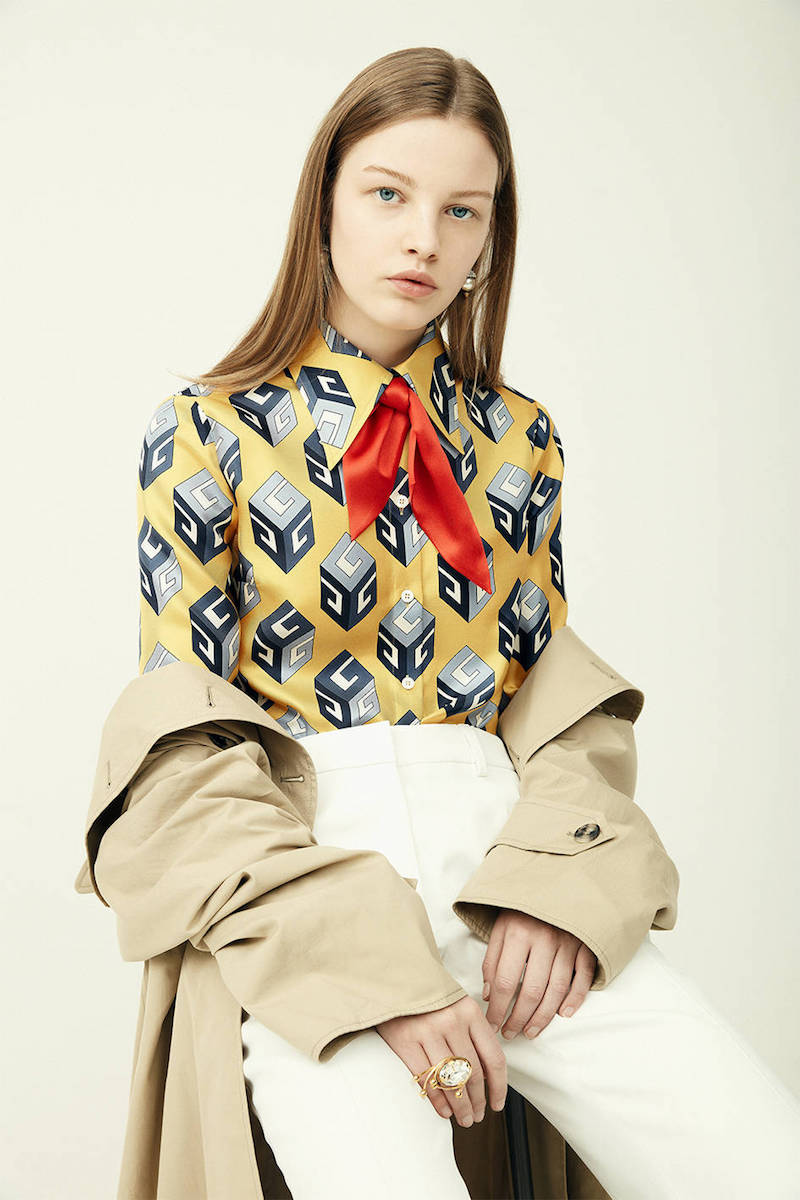 Gucci GG Wallpaper Print Silk Twill Shirt