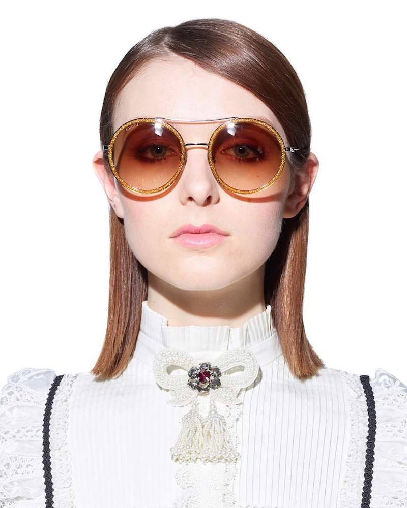 Gucci Glitter Framed Round Sunglasses