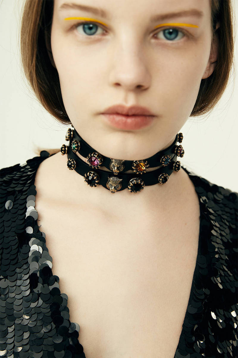 Gucci Leather Choker with Black Crystals