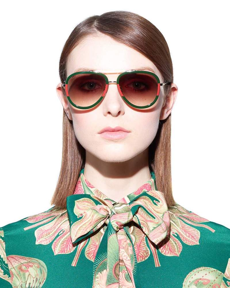 Gucci Red and Green Frame Aviator Sunglasses