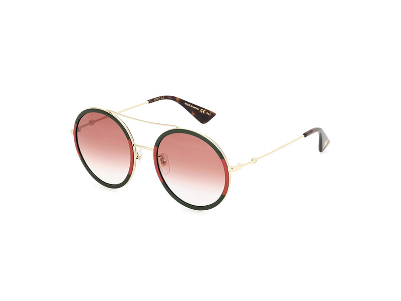 Gucci Red and Green Frame Round Sunglasses