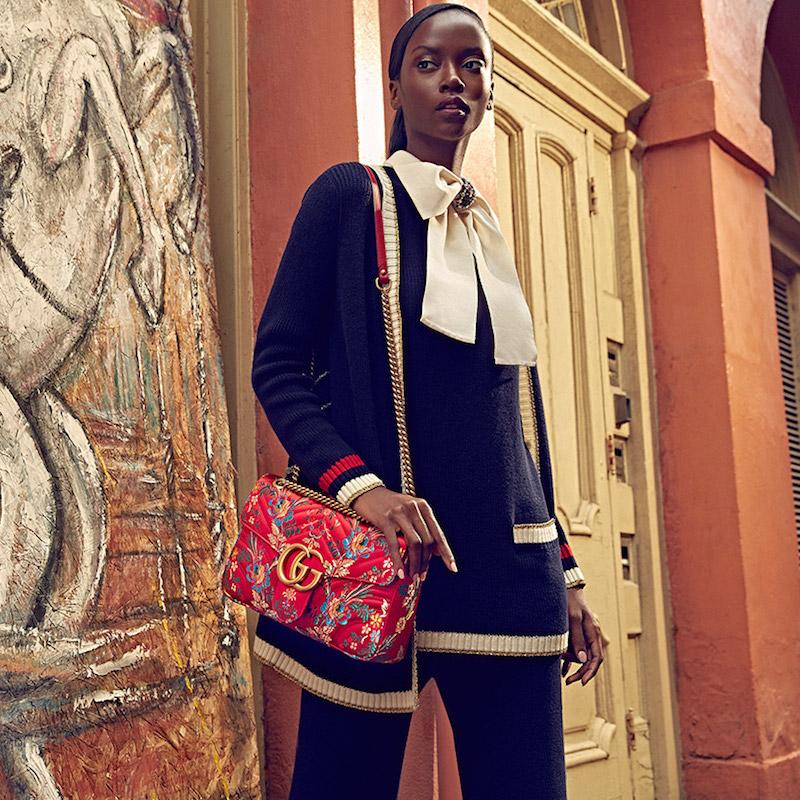 Gucci Small GG Marmont Matelassé Floral Jacquard Chain Shoulder Bag