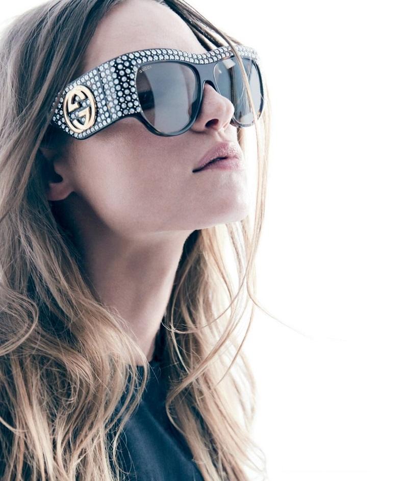 Gucci Toritoiseshell Acetate and Crystal Sunglasses