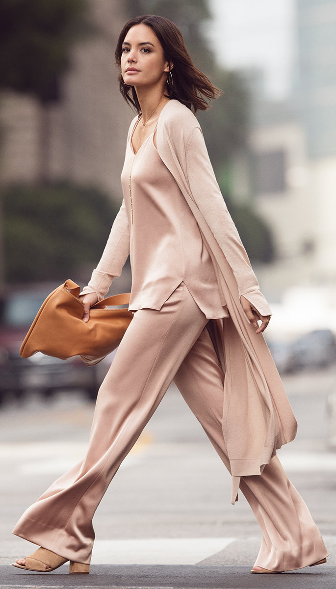 HALSTON HERITAGE Long Sleeve Open Front Duster Cardigan with Sash