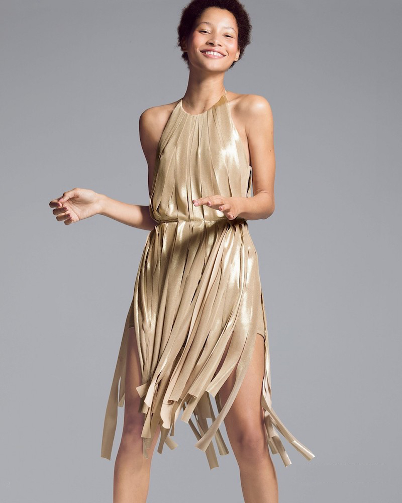 Halston Heritage Metallic Jersey Strips Dress