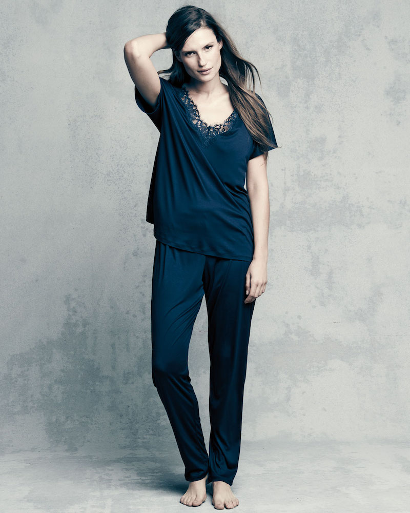 Hanro Livia Lace-Trim Pajama Set