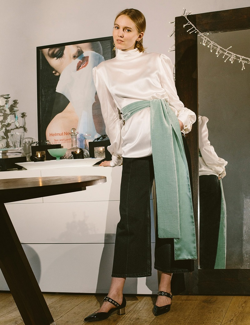Hillier Bartley High-neck satin blouse