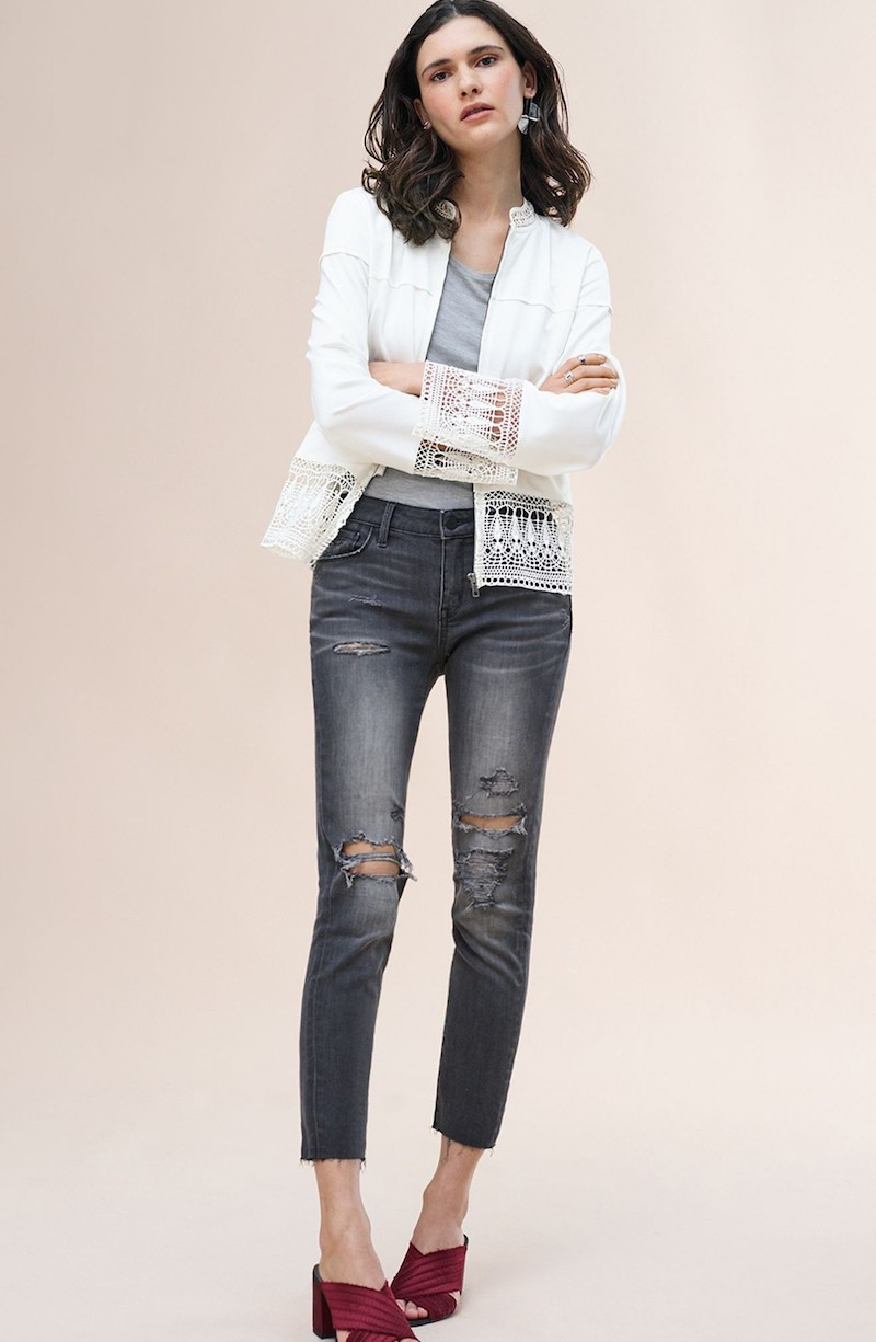 Hinge Lace Trim Bomber Jacket