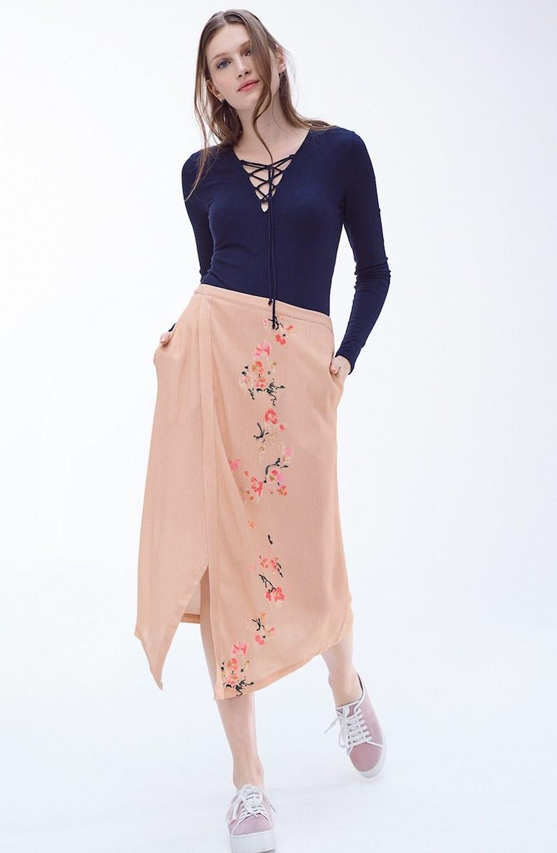 Hinge Wrap Front Midi Skirt