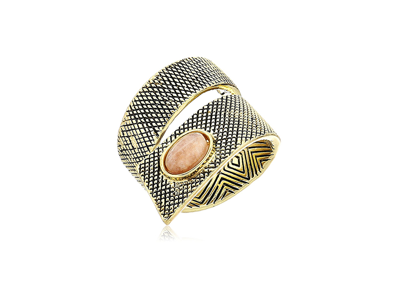 House of Harlow 1960 Tanta Crosshatch Gold Silk Ring
