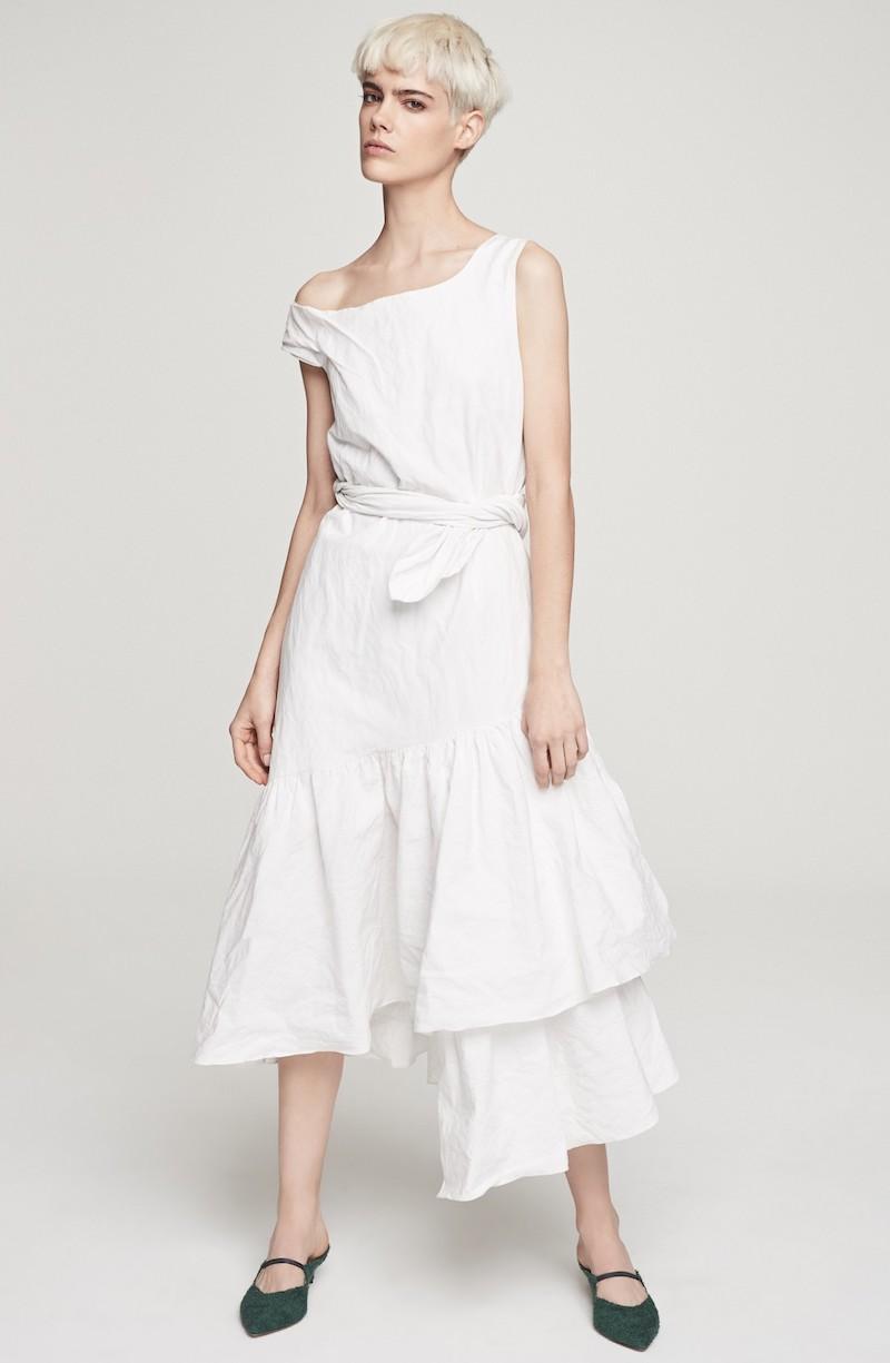 Isa Arfen Asymmetrical Ruffle Dress