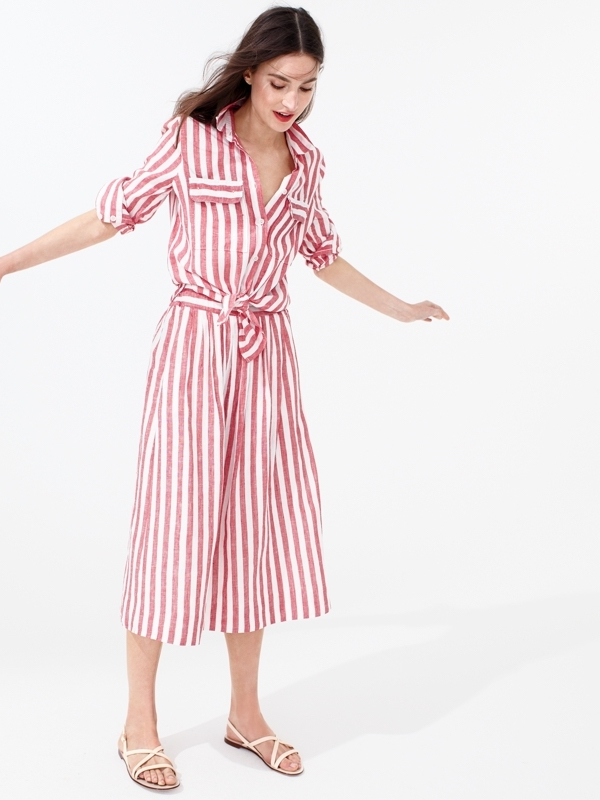 J.Crew Button-Up Shirt In Striped Cotton-Linen