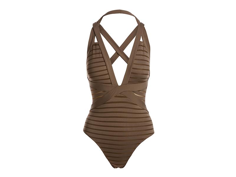 JETS by Jessika Allen Parallels Crisscross Halter One-Piece Swimsuit