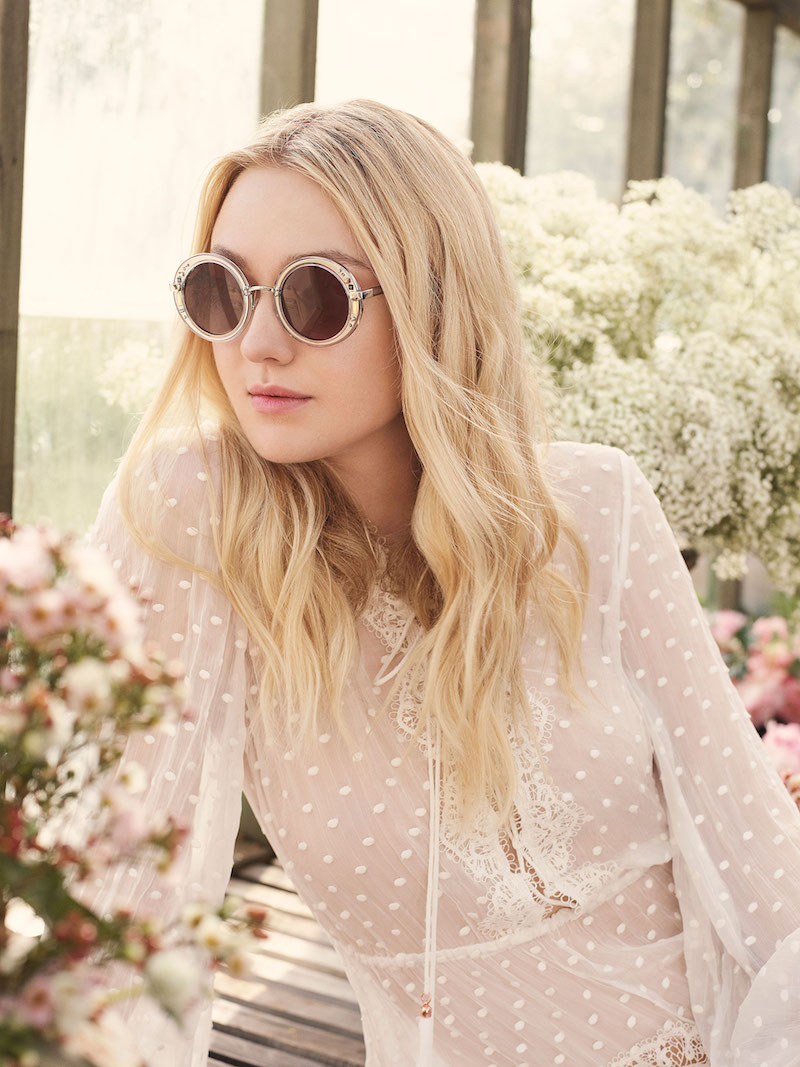 JIMMY CHOO Gem Transparent Round Framed Sunglasses with Swarovski Crystals