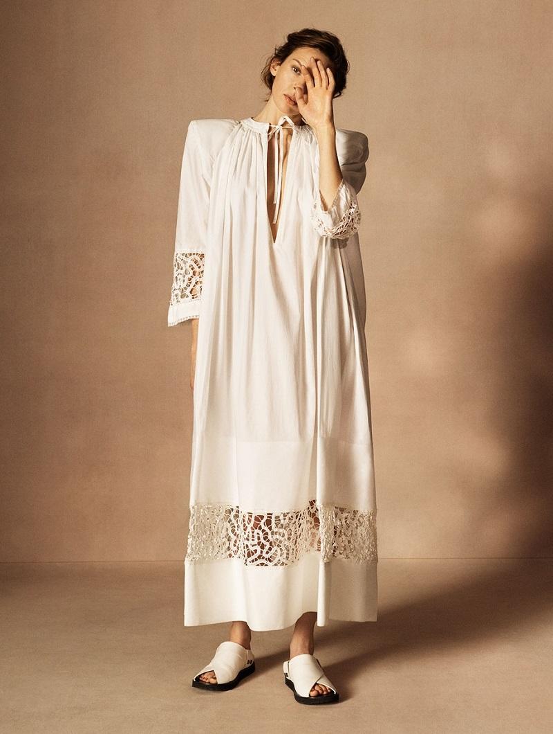 Jacquemus Tie-neck lace-insert maxi dress