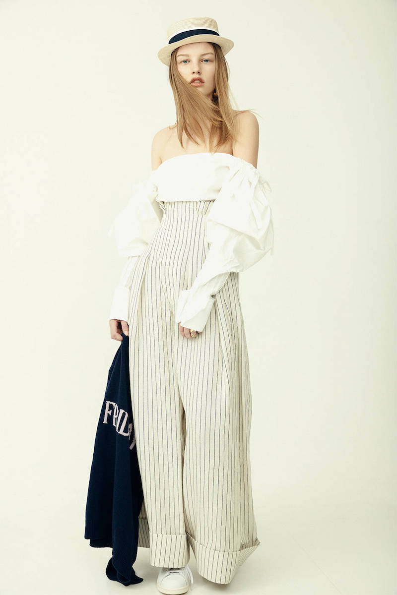 Jacquemus Wide Linen & Wool Blend Striped Pants